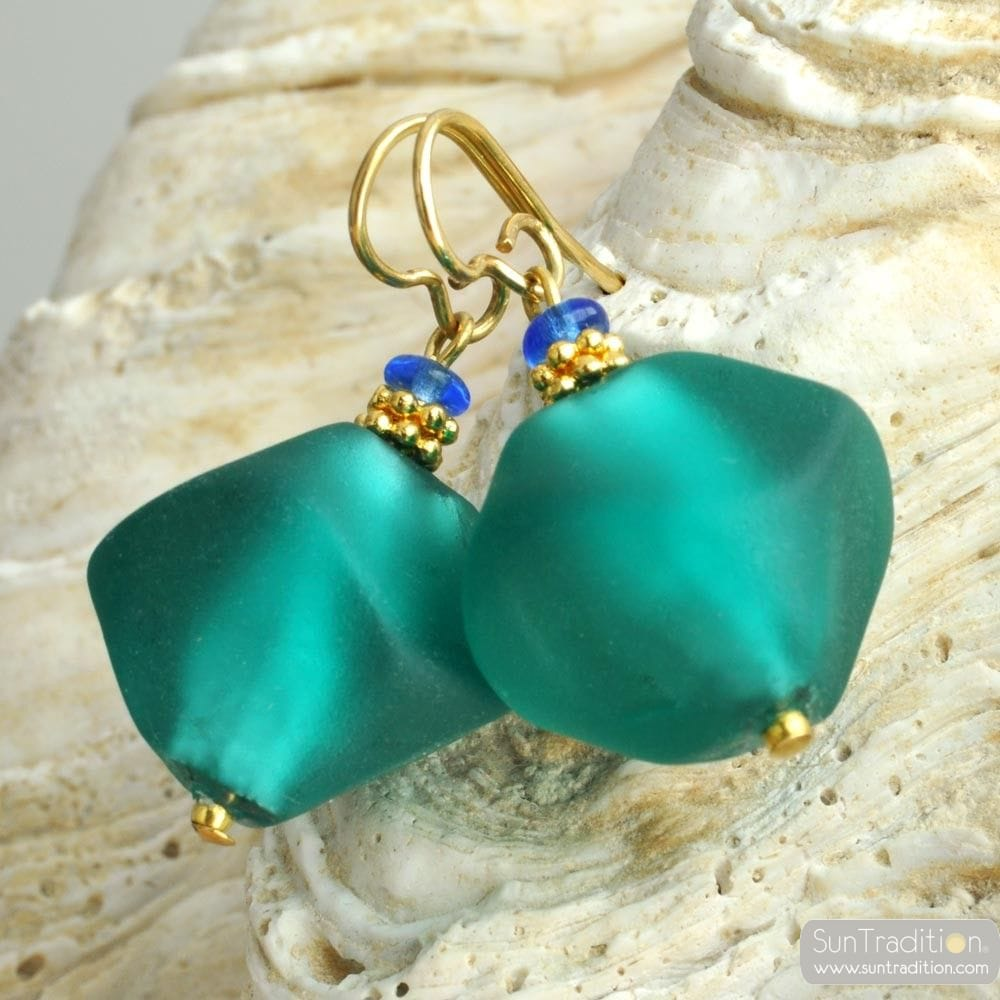 SCOGLIO SATIN GREEN EARRINGS GENUINE VENICE MURANO GLASS