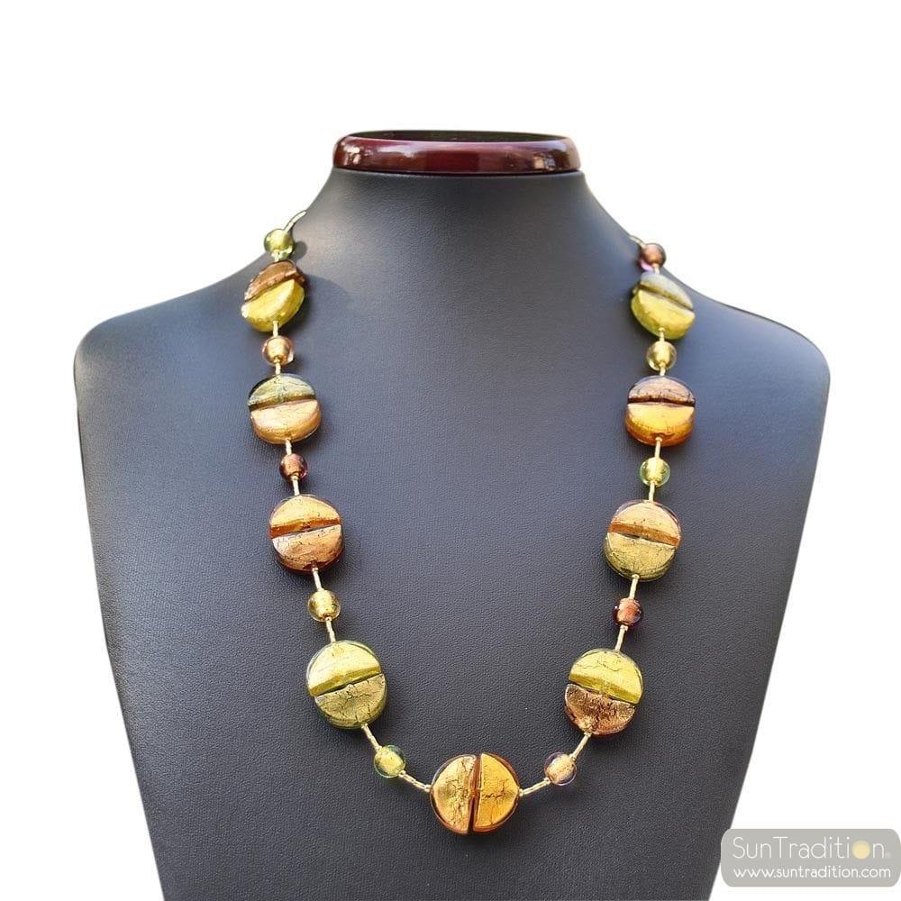 GLASS NECKLACE MURANO GOLD NECKLACE LONG REFINED MURANO GLASS OF VENICE