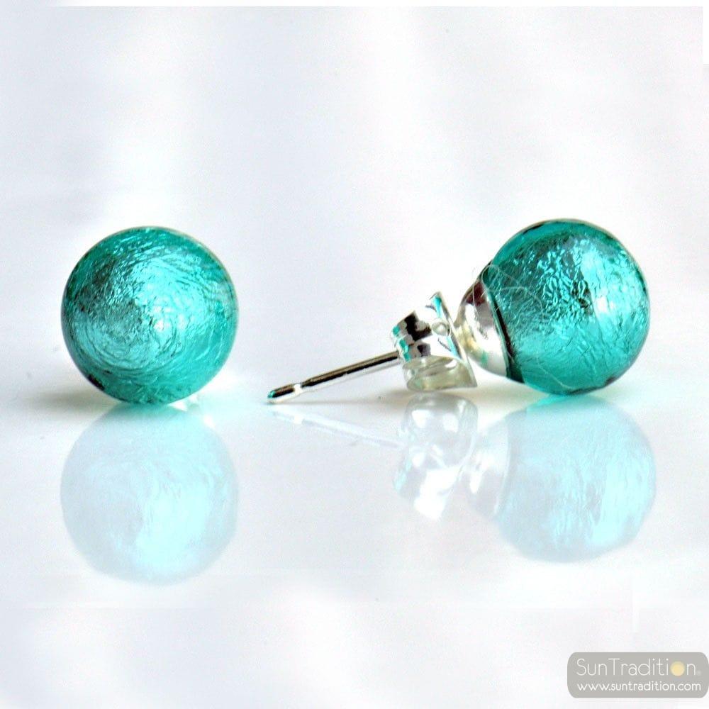 BLUE MURANO GLASS EARRINGS ROUND BUTTON NAIL GENUINE MURANO GLASS OF VENICE