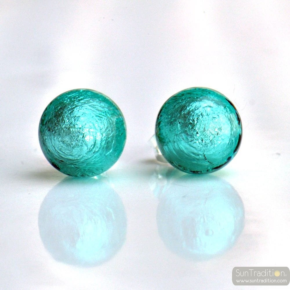 BLUE MURANO GLASS EARRINGS ROUND BUTTON NAIL GENUINE MURANO GLASS OF VENICE