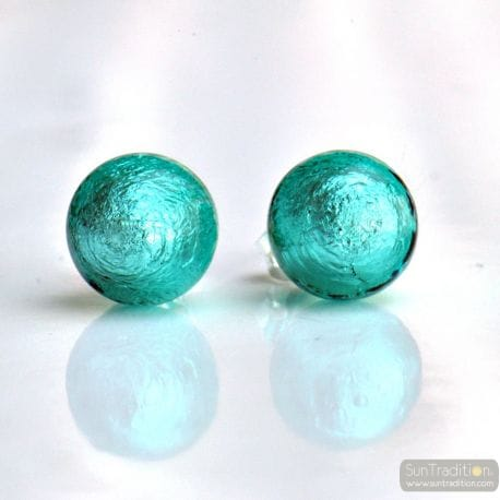 BLUE MURANO EARRINGS ROUND BUTTON NAIL GENUINE MURANO GLASS OF VENICE
