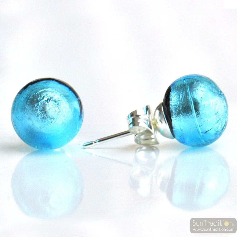 LIGHT BLUE MURANO GLASS EARRINGS ROUND BUTTON NAIL GENUINE MURANO GLASS OF VENICE