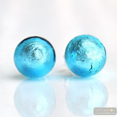 LIGHT BLUE MURANO EARRINGS ROUND BUTTON NAIL GENUINE MURANO GLASS OF VENICE