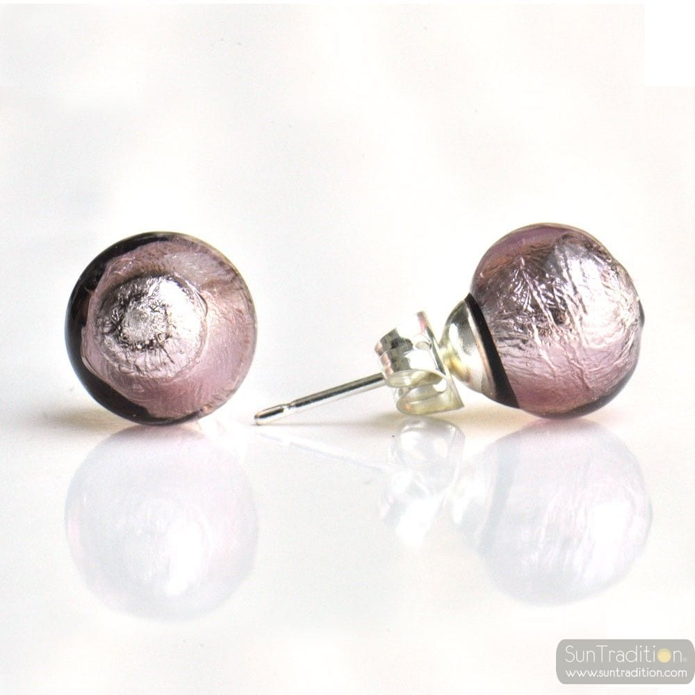 Parma Murano Glass Earrings Round Button Nail Genuine