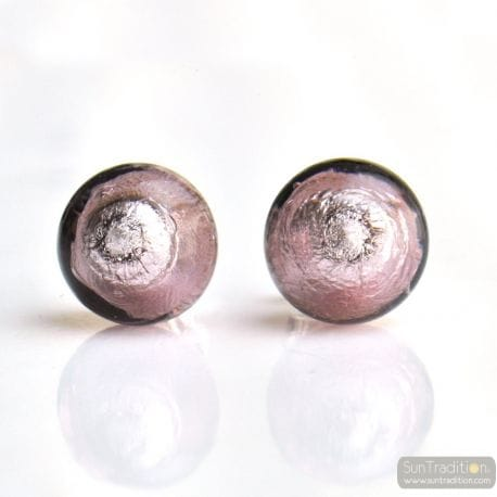 PARMA MURANO EARRINGS ROUND BUTTON NAIL GENUINE MURANO GLASS OF VENICE
