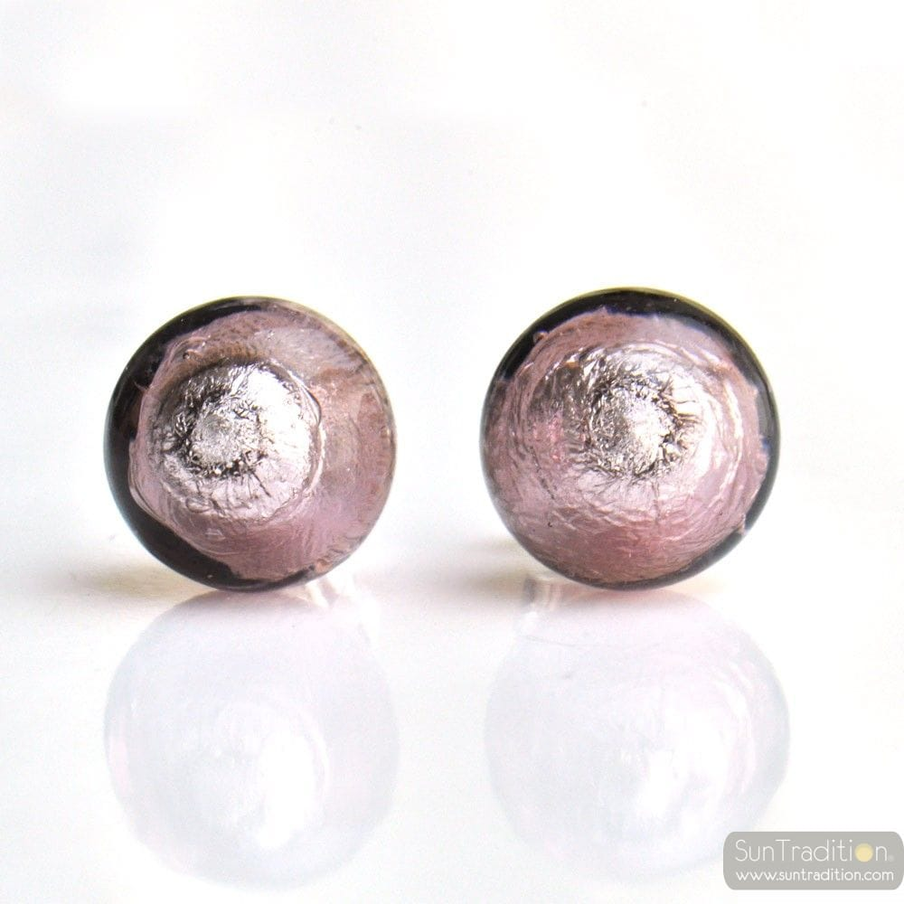 Nail Buttons: PARMA MURANO GLASS EARRINGS ROUND BUTTON NAIL GENUINE