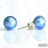 BLUE OCEAN MURANO GLASS EARRINGS ROUND BUTTON NAIL GENUINE MURANO GLASS OF VENICE