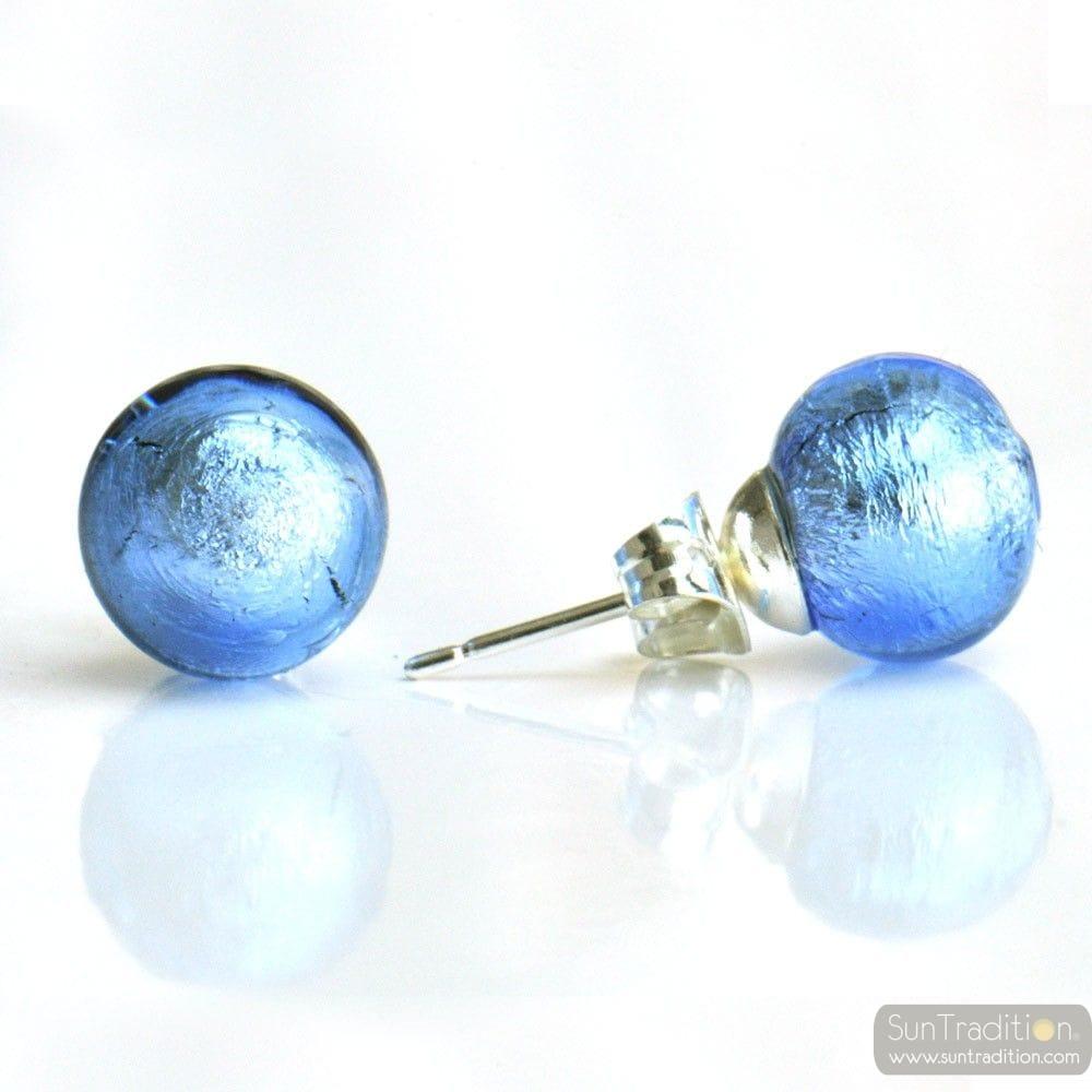 BLUE OCEAN MURANO GLASS EARRINGS ROUND BUTTON NAIL GENUINE MURANO GLASS OF VENICE