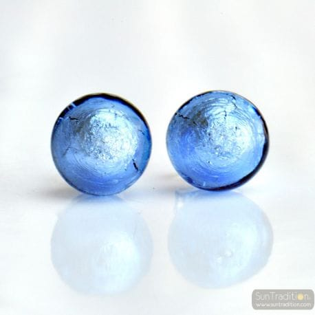 BLUE OCEAN MURANO EARRINGS ROUND BUTTON NAIL GENUINE MURANO GLASS OF VENICE