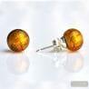 AMBER MURANO GLASS EARRINGS ROUND BUTTON NAIL GENUINE MURANO GLASS OF VENICE