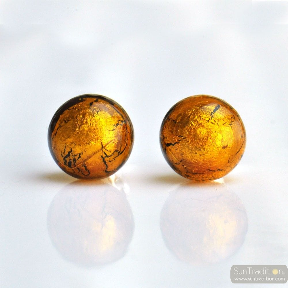 AMBER EARRINGS ROUND BUTTON NAIL GENUINE MURANO GLASS OF VENICE