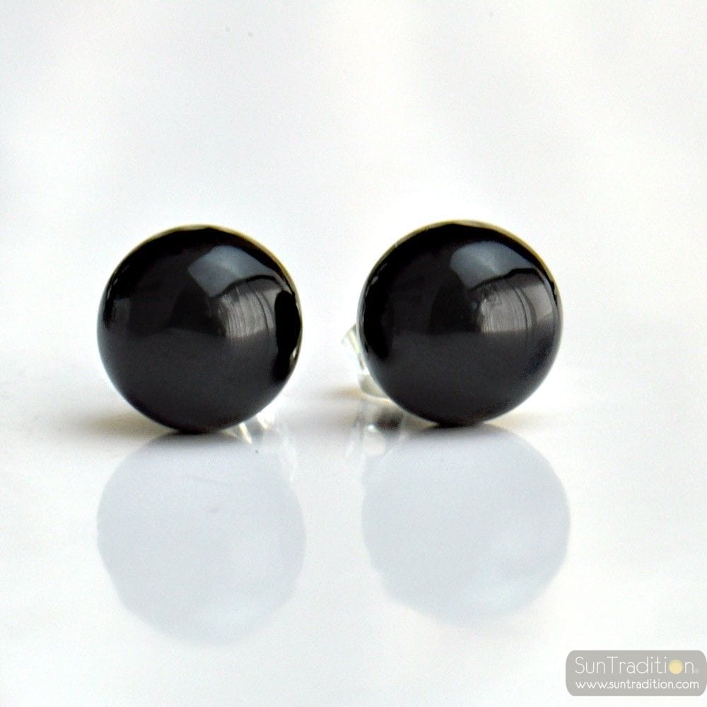 schwarz murano glas ohrstecker aus venedig