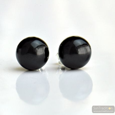 BLACK MURANO EARRINGS ROUND BUTTON NAIL GENUINE MURANO GLASS OF VENICE