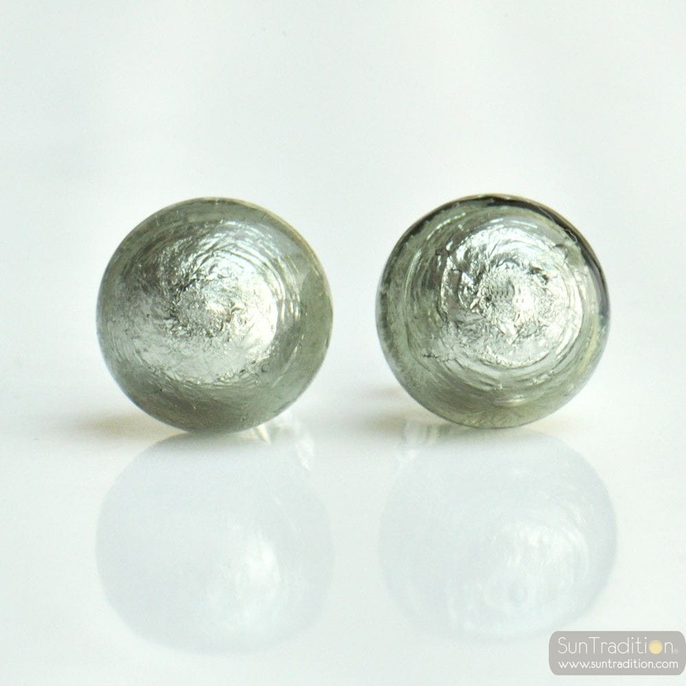 GRAY EARRINGS ROUND BUTTON NAIL GENUINE MURANO GLASS OF VENICE