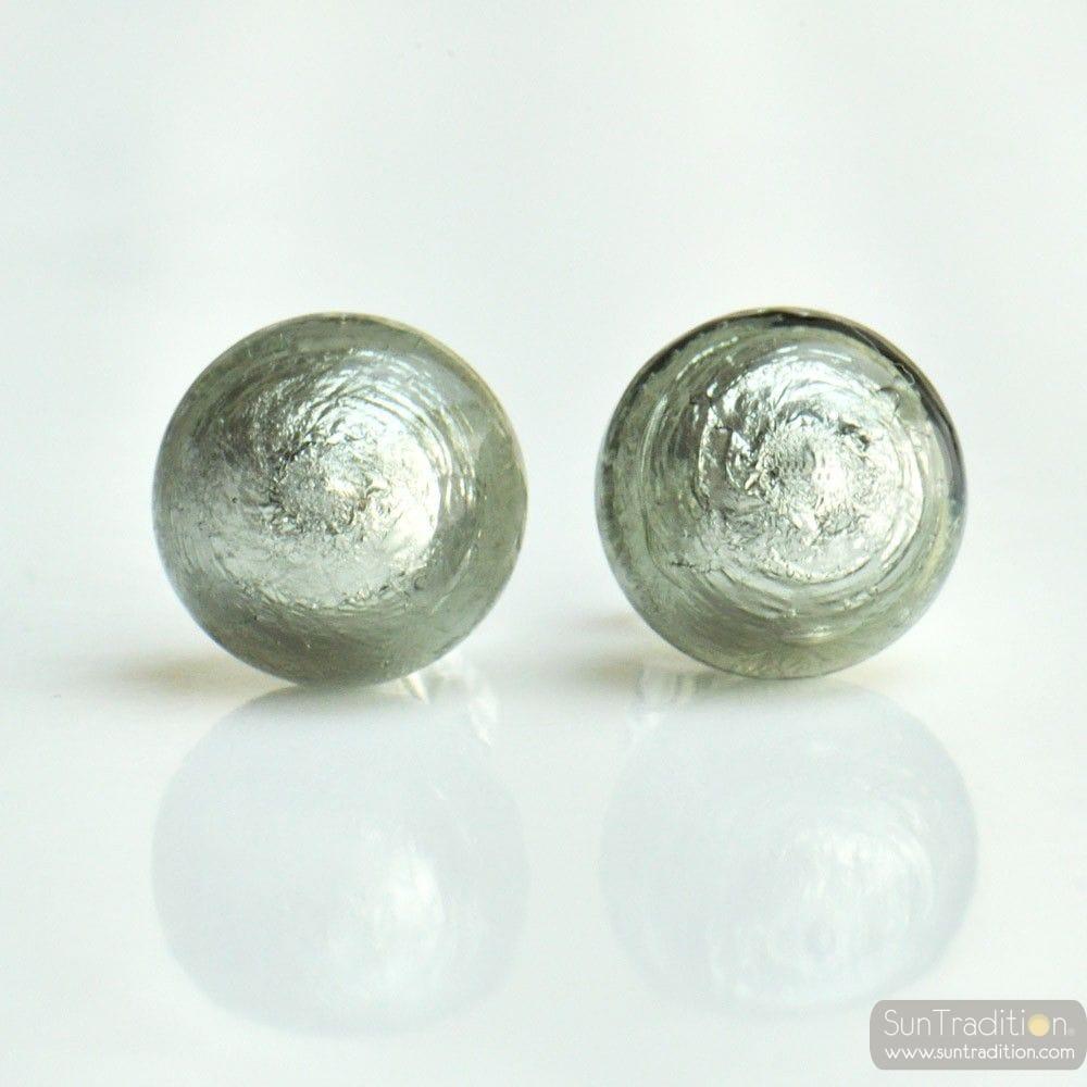GRAY MURANO EARRINGS ROUND BUTTON NAIL GENUINE MURANO GLASS OF VENICE