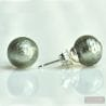 GRAY MURANO GLASS EARRINGS ROUND BUTTON NAIL GENUINE MURANO GLASS OF VENICE