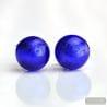 COBALT BLUE MURANO EARRINGS ROUND BUTTON NAIL GENUINE MURANO GLASS OF VENICE