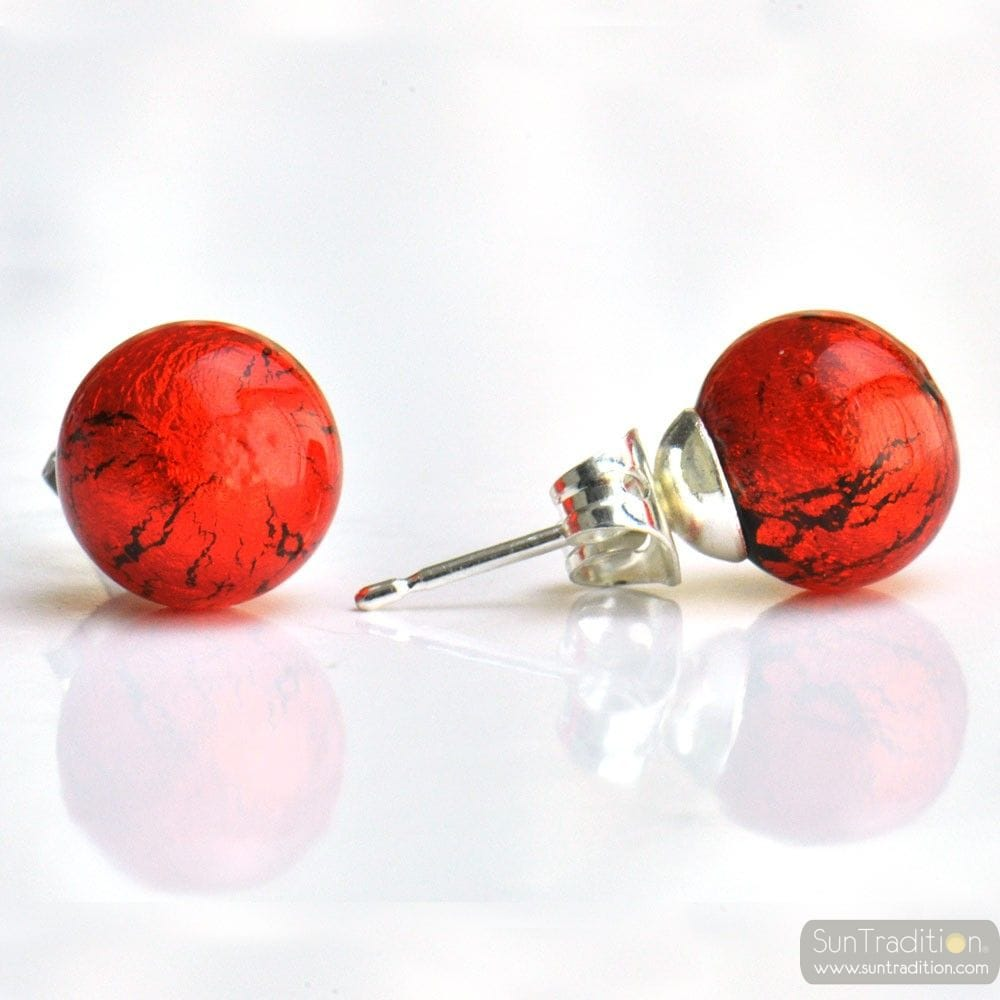 RED ORANGE MURANO GLASS EARRINGS ROUND BUTTON NAIL GENUINE MURANO GLASS OF VENICE