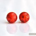 RED ORANGE EARRINGS ROUND BUTTON NAIL GENUINE MURANO GLASS OF VENICE