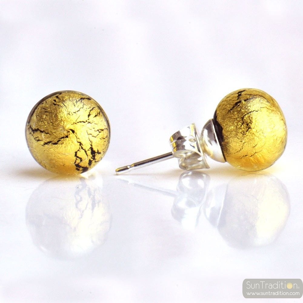 GOLD CRYSTAL MURANO GLASS EARRINGS ROUND BUTTON NAIL GENUINE MURANO GLASS OF VENICE