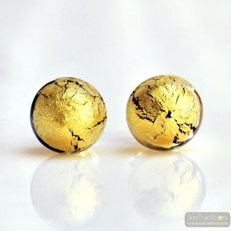 GOLD CRYSTAL MURANO EARRINGS ROUND BUTTON NAIL GENUINE MURANO GLASS OF VENICE