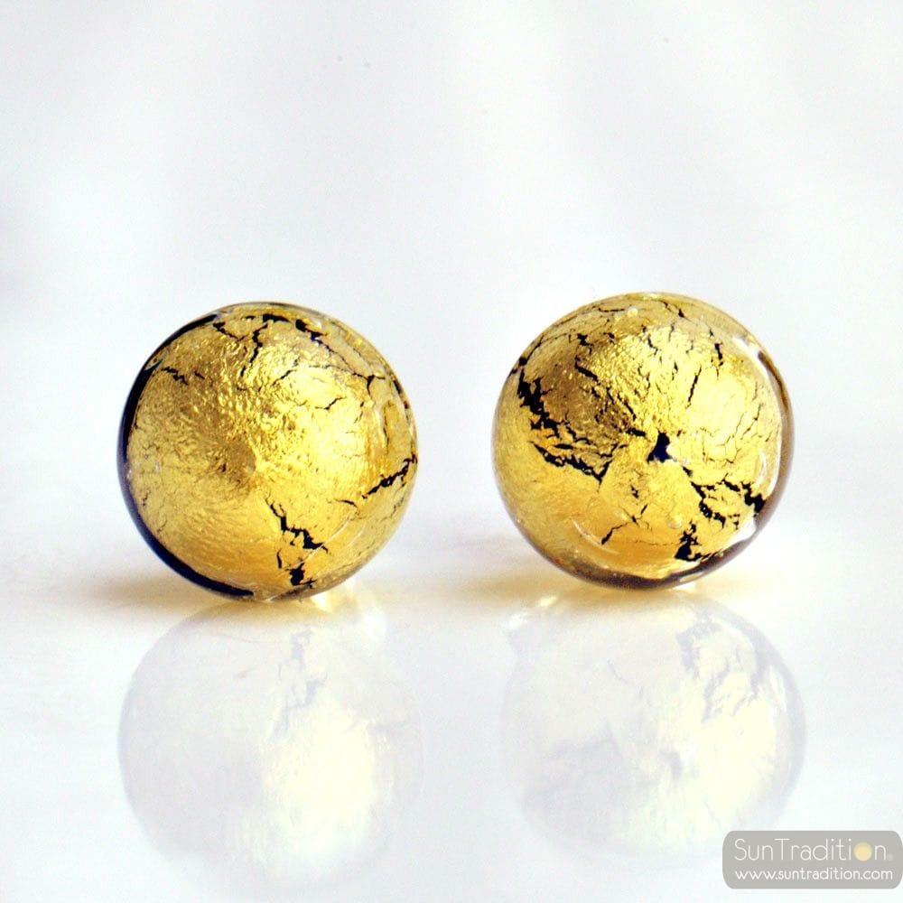 GLAS OHRRINGE STECKER KRISTALL GOLD - OHRSTECKER KRISTALL GOLD AUS ECHTEM MURANOGLAS AUS VENEDIG