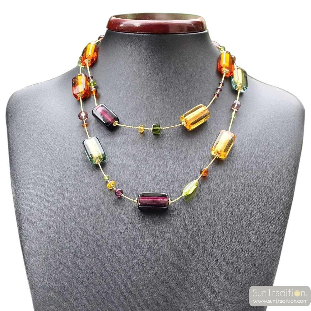 COLLIER VERRE MURANO AMBRE OR