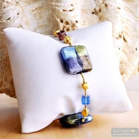 BLUE MURANO GLASS BRACELET QUADRIFOGLIO MURANO GLASS OF VENICE