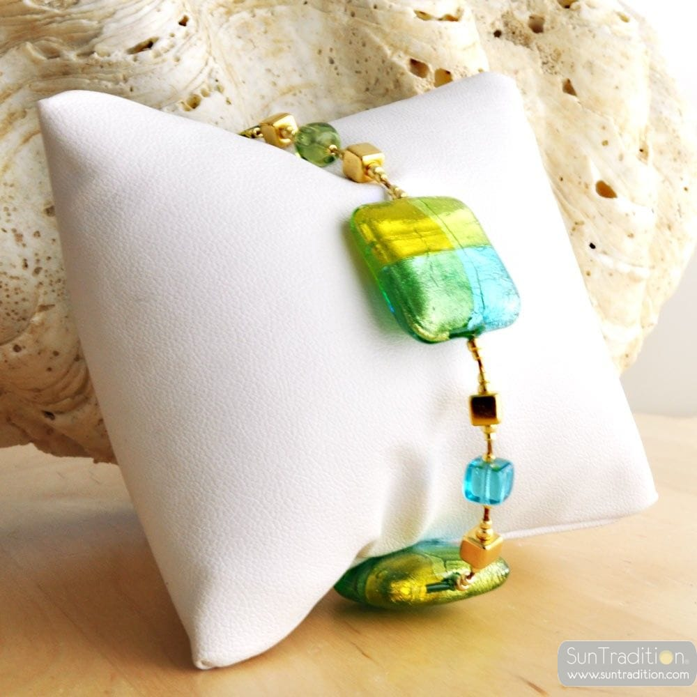 GREEN MURANO GLASS BRACELET QUADRIFOGLIO MURANO GLASS OF VENICE
