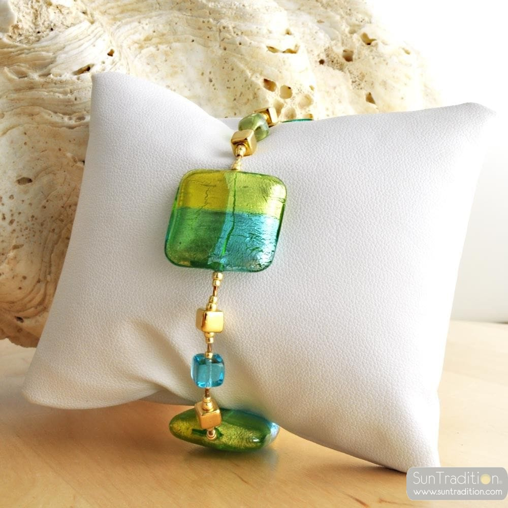 GREEN MURANO BRACELET QUADRIFOGLIO MURANO GLASS OF VENICE