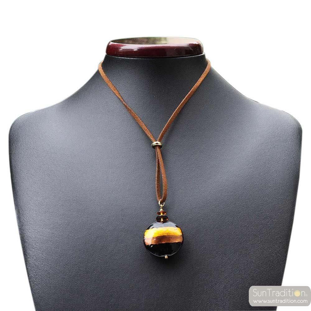 BROWN/ GOLD MURANO GLASS VENICE HORIZON