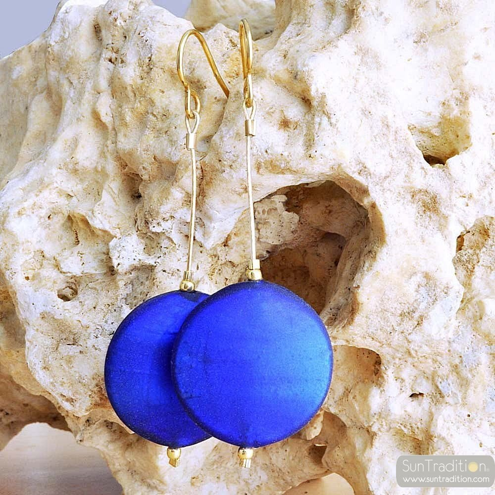 BLUE MURANO GLASS EARRINGS GENUINE VENICE MURANO GLASS