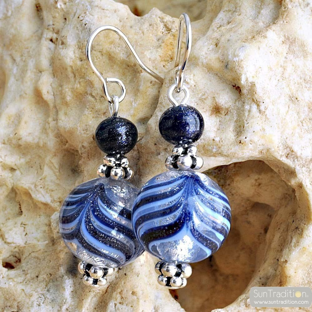 BLUE MURANO GLASS EARRINGS GENUINE VENITIAN MURANO GLASS