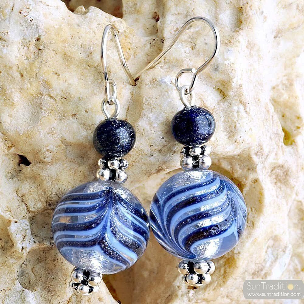 BLUE MURANO GLASS EARRINGS GENUINE VENITIAN MURANO GLASS