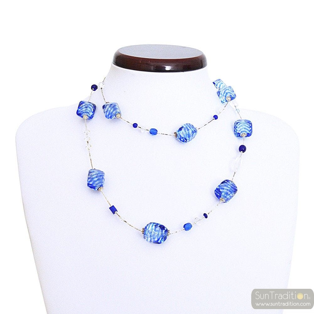 SASSO RIGADIN BLUE COLLAR LONG IN REAL MURANO GLASS VENICE