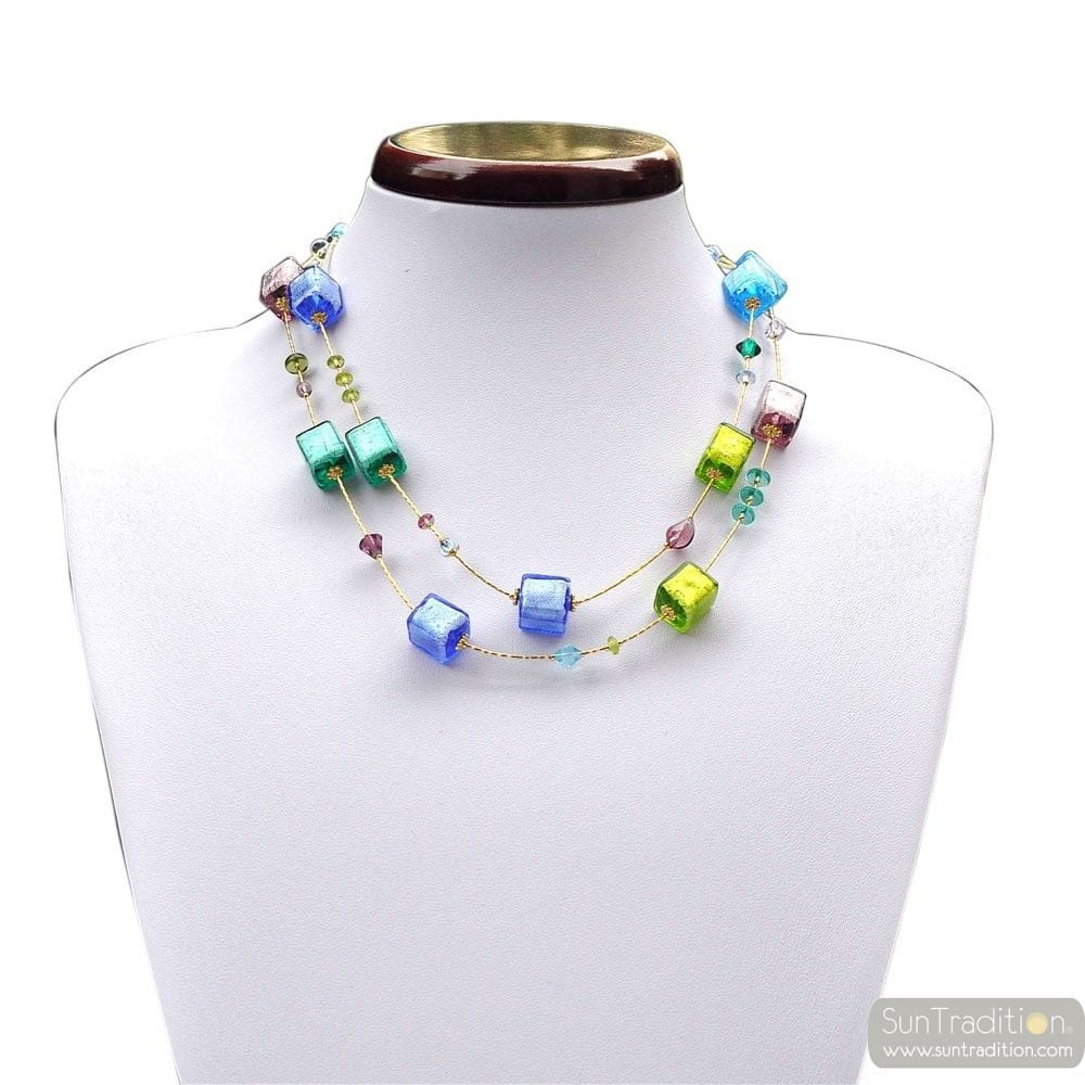 America blue long - Blue and gold Murano glass necklace real venitian jewel of Italy