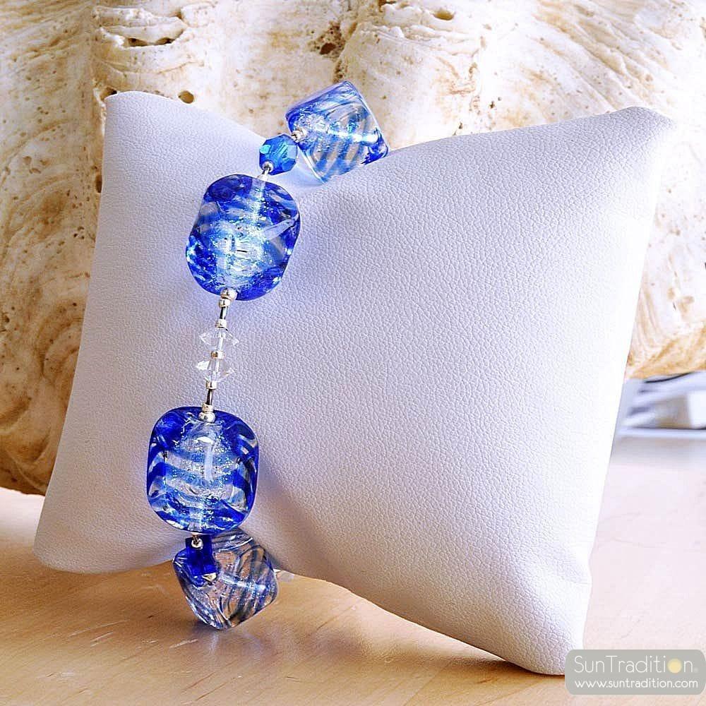 SASSO RIGADIN BLUE BRACELET IN REAL MURANO GLASS VENICE