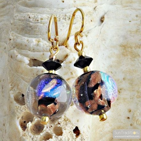 BLACK MURANO EARRINGS JEWEL IN REAL VENICE MURANO GLASS