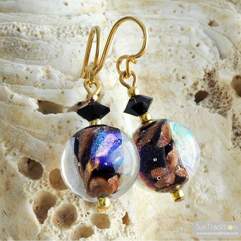 BLACK MURANO EARRINGS JEWEL IN REAL VENICE MURANO GLASS