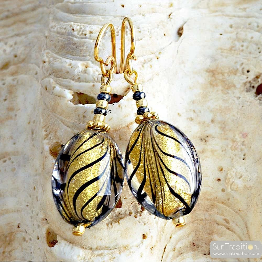 FENICIO OLIVE BLACK GOLD EARRINGS JEWEL IN TRUE MURANO GLASS OF VENICE