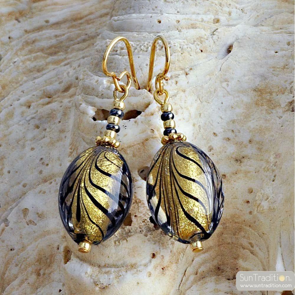 GOLD MURANO EARRINGS JEWEL IN TRUE MURANO GLASS OF VENICE
