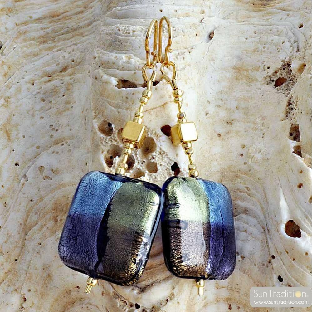 QUADRIFOGLIO BLUE - BLUE MURANO GLASS DROP EARRINGS OF VENICE