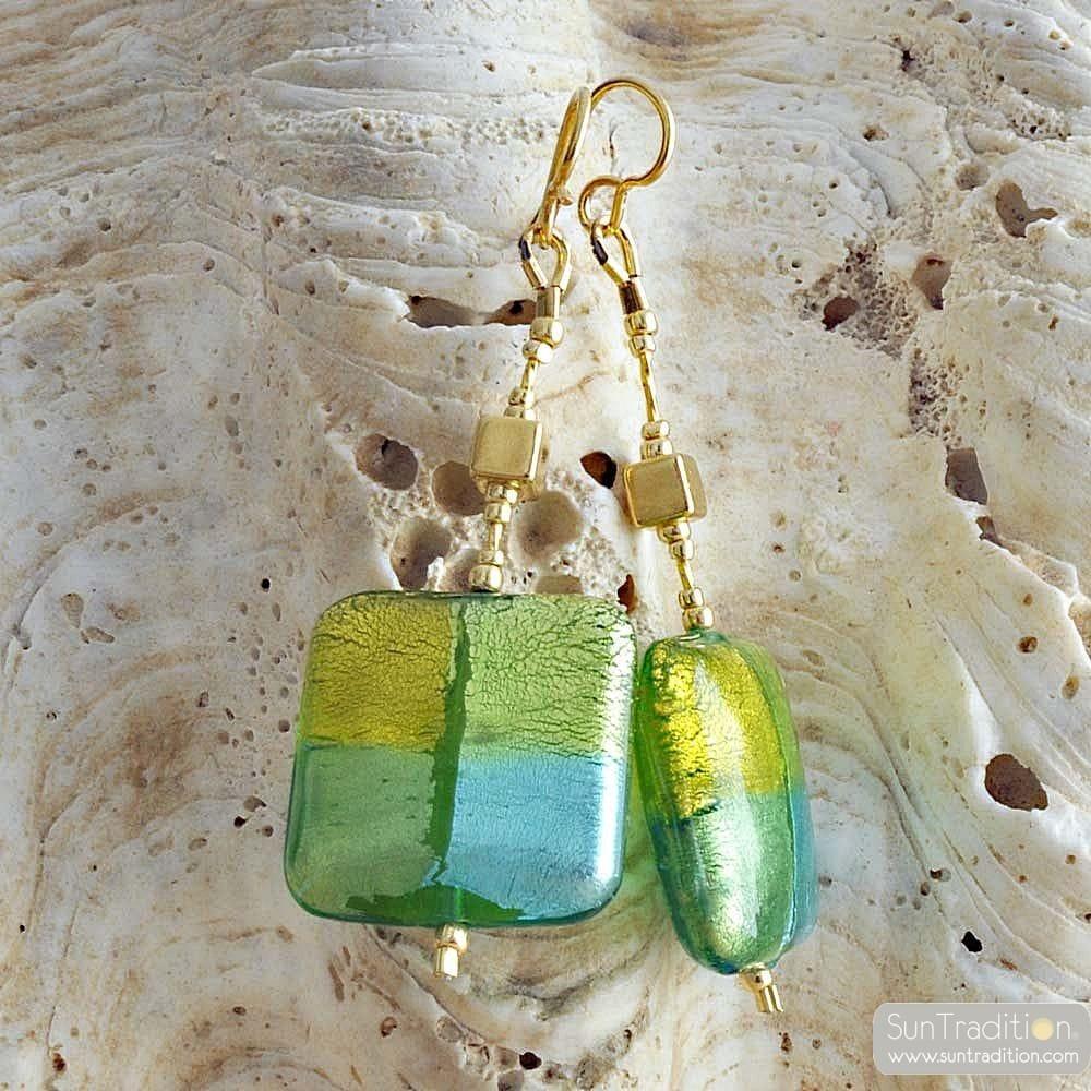 QUADRIFOGLIO GREEN - GREEN MURANO GLASS DROP EARRINGS OF VENICE
