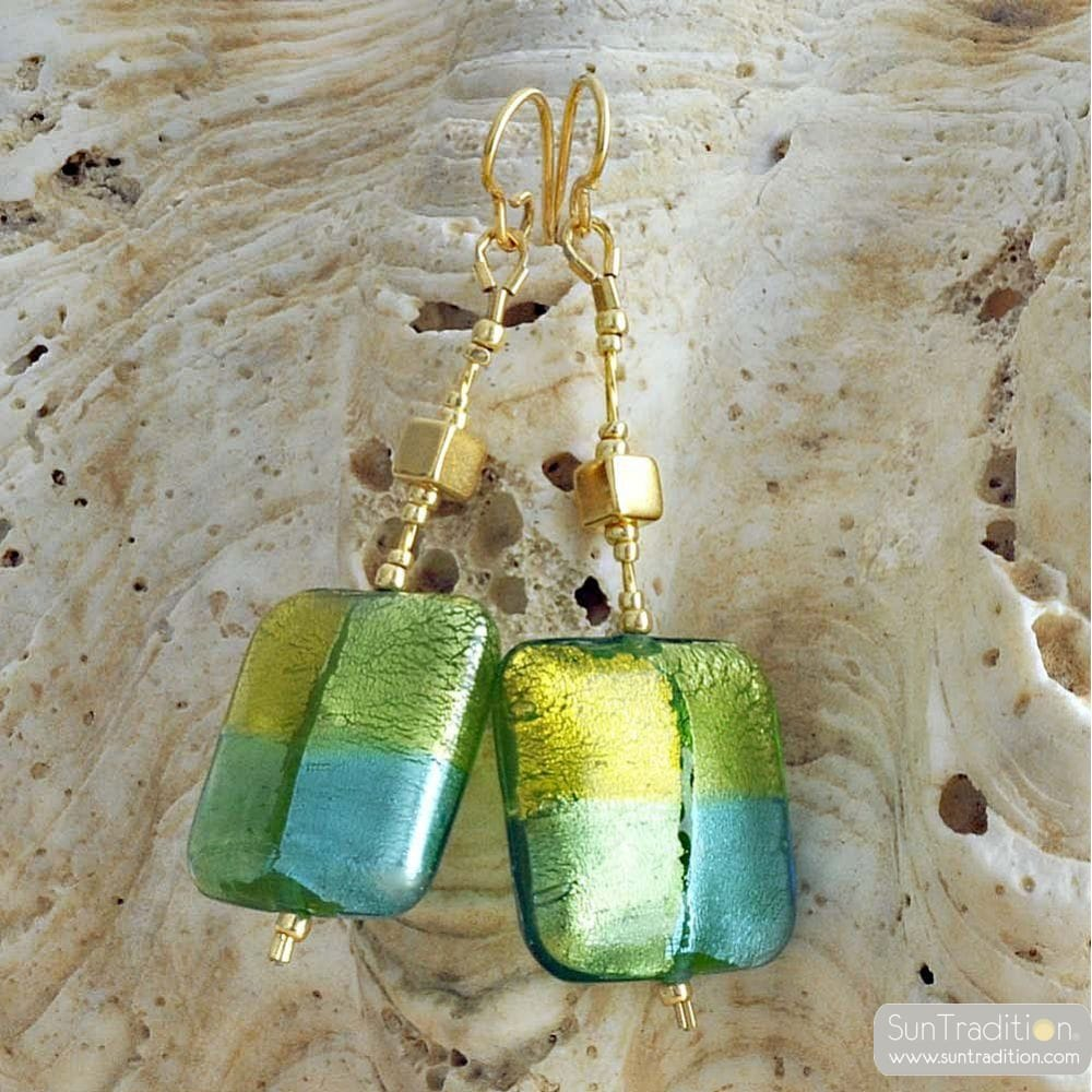 GREEN MURANO GLASS EARRINGS QUADRIFOGLIO MURANO GLASS OF VENICE