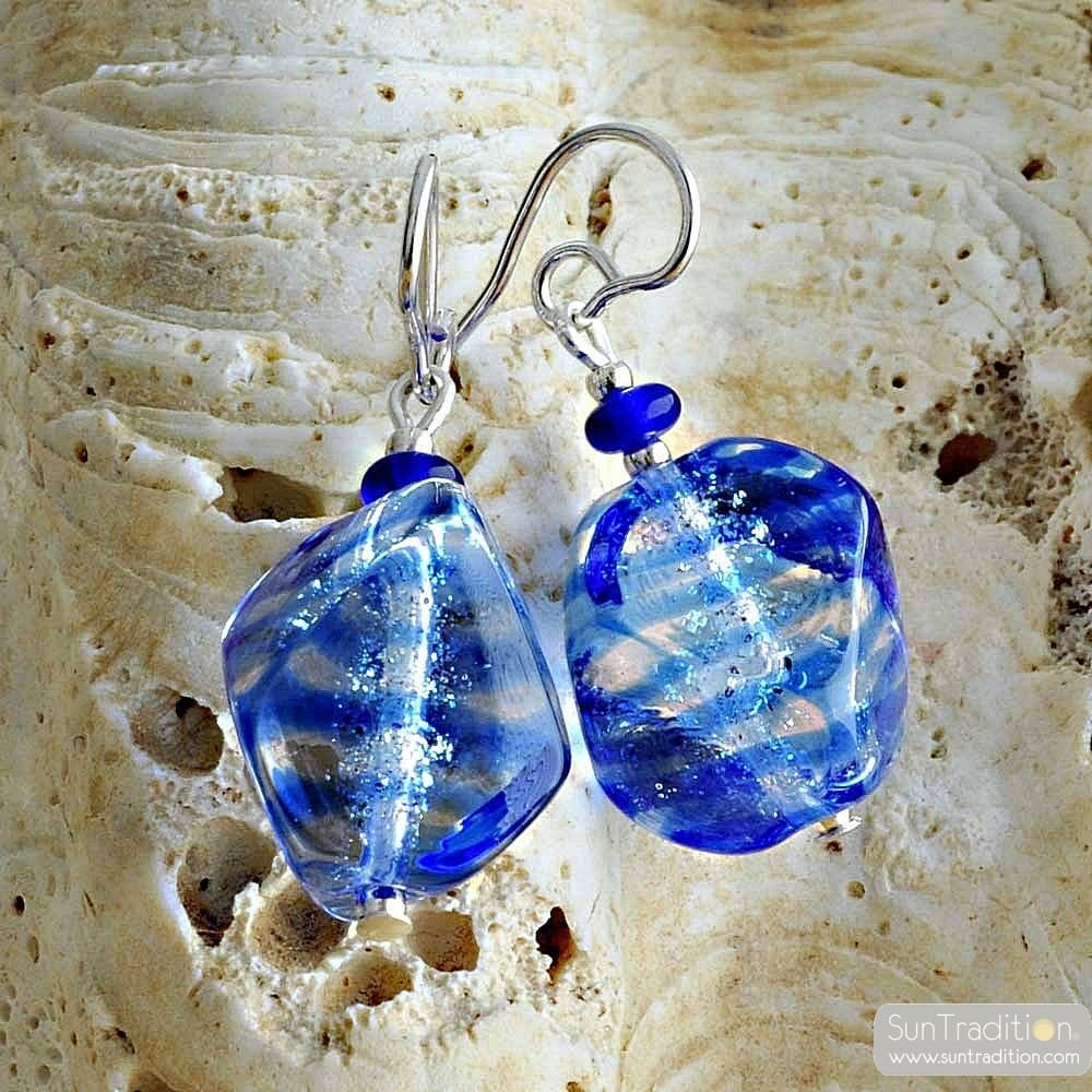 BLUE MURANO EARRINGS IN TRUE MURANO GLASS OF VENICE