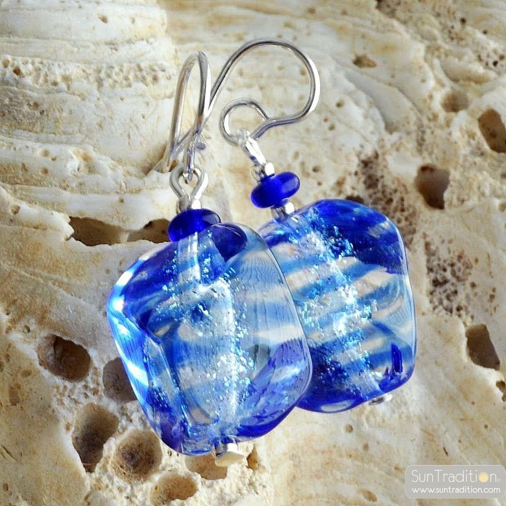 BLUE MURANO EARRINGS IN TRUE MURANO GLASS OF VENICE