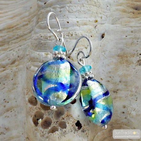 BLUE MURANO EARRINGS CHARLY FILI IN REAL MURANO GLASS VENICE