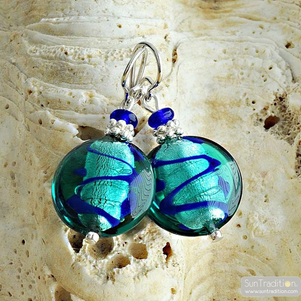 CHARLY LAPIS - TURQUOISE BLUE MURANO GLASS EARRINGS VENICE
