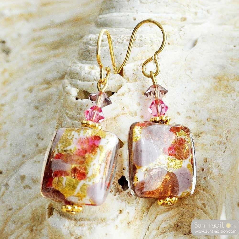 PINK MURANO GLASS EARRINGS BOTICELLI GLASS OF VENICE
