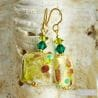 EARRINGS GREEN QUADRIFOGLIO MURANO GLASS OF VENICE
